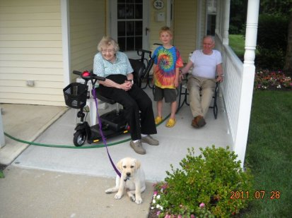 Mookie's first Meet and greet with Grandma and Grandpa Duffy in July of 2011